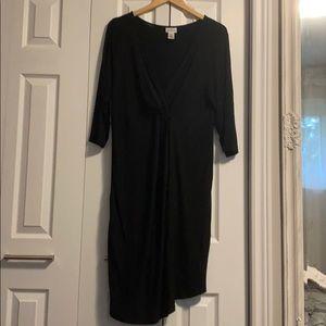 Black three quarter sleeve maternity dress